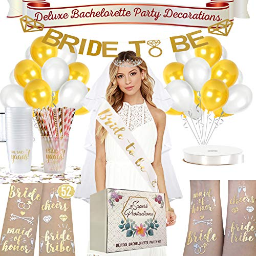 SuperbProductions Complete Bachelorette Party Decorations Kit | Bridal Shower Supplies | (83 pcs) - Sash, Veil, Tiara, Banner, 40 Straws, 16 Cups, 52 pcs Tattoos, and 20 Balloons