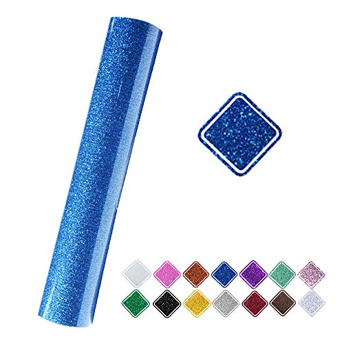 VINYL FROG 9.8x60(0.8x5ft) PU Blue Glitter Heat Transfer Vinyl for T-Shirt Clothing