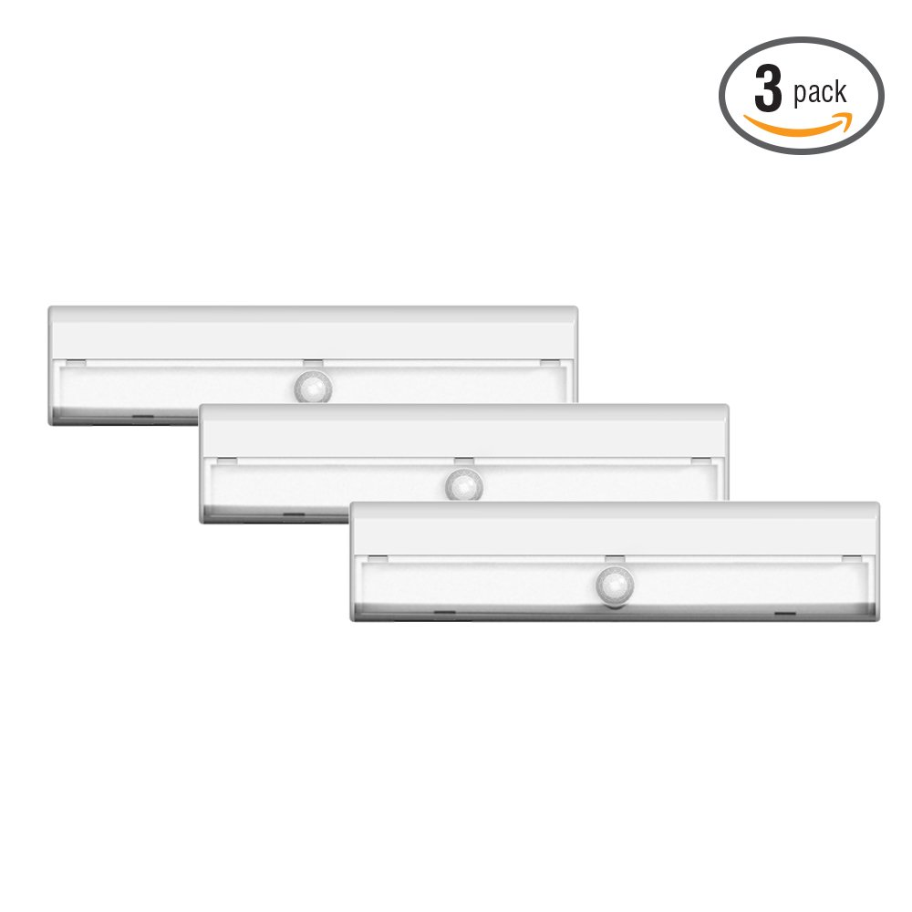 Brilliant Evolution BRRC127 Wireless LED Stair / Path Light 3 Pack With Motion Sensor - Operates On 3 AA Batteries - Perfect For Interior Step , Stairwell And Hallway Lighting
