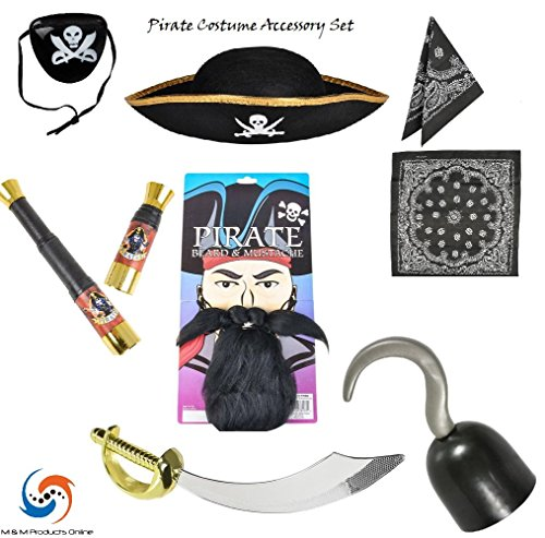 Pirate Costume Accessory Set! Everything to be a Pirate! by M & M Products Online (Captain Hook Costumes For Kids)