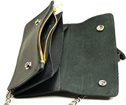 Trucker Leather (Men's Genuine Leather Biker Wallet with Chain Zipper Stud Trucker Purse Wallet)