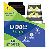 Dixie To Go Disposable Paper Cups and Lids, 14 Count, 12 Ounce Coffee Cups; Designs May Vary