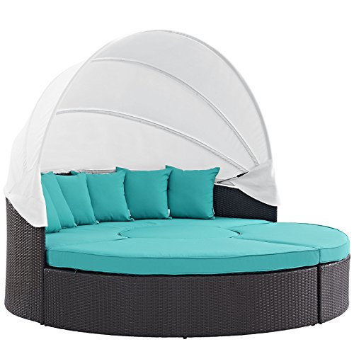 Modway Convene Canopy Outdoor Patio Daybed, Espresso Turquoise (Outdoor Bed Furniture)