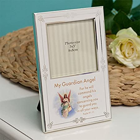 Silver Plated Guardian Angel Photo Frame Amazoncouk Kitchen Home