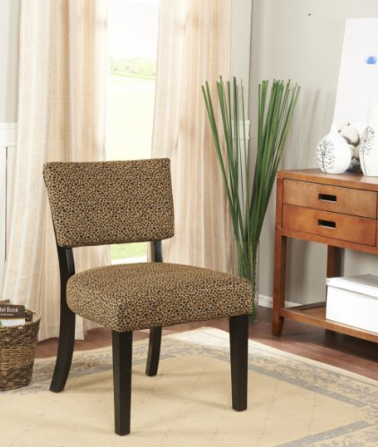 Kings-Brand-Leopard-Black-Fabric-With-Cherry-Finish-Wood-Legs-Accent-Chair
