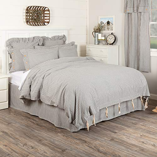 Piper Classics Farmhouse Ticking Gray Stripe Queen Duvet Cover, 92
