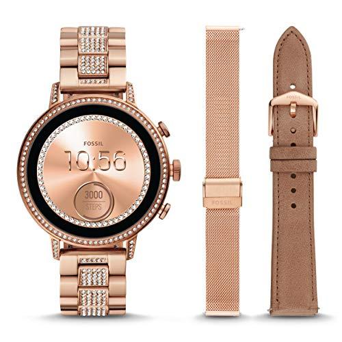 Reloj Inteligente para Mujeres Fossil Gen 4 - Venture HR en Acero Inoxidable en Tono Dorado Rosa con Correas Intercambiables FTW6021SET: Amazon.es: Relojes