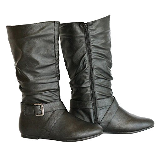 Twisted Womens Shelly Faux Leather Mid-Calf Scrunch Boot with Side Buckle