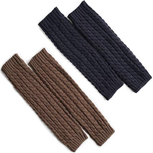 2 paar winterbeenwarmers voor dames, beenwarmers, beenwarmers voor dames, winter, wintergebreide gehaakte lange sokken…