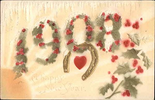 Horse 1908 (1908, With Floral Decorations, Heart and Horseshoe Years Original Vintage Postcard)