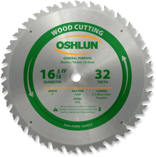 Oshlun SBW-164032 16-5/16-Inch 32 Tooth ATB Beam Saw Blade with 1-Inch Arbor