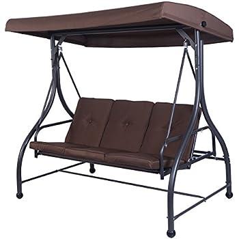 tangkula converting outdoor swing canopy hammock 3 seats patio deck furniture  brown  amazon     tangkula converting outdoor swing canopy hammock 3      rh   amazon