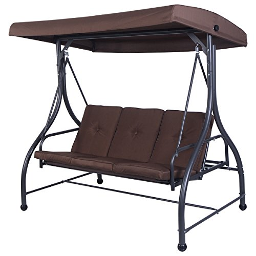 Tangkula Converting Outdoor Swing Canopy Hammock 3 Seats Patio Deck Furniture (Brown)