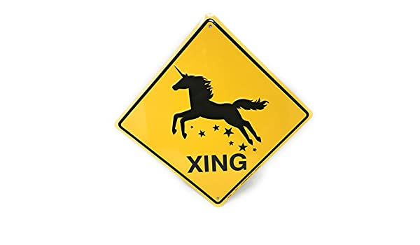Unicorn Caution Sign Crossing Sign Outdoor Yellow Diamond Metal Signs Novelty Funny Aluminum Sign Yard Sign Metal Wall Plaque 12x12 inches