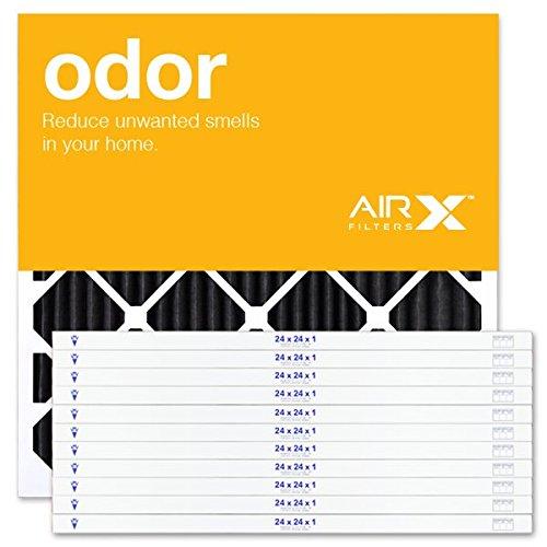 AirXフィルター臭気24x 24x 1エアフィルタMERV 4AC炉プリーツエアフィルタ交換用ボックスof 12, Made in the USA