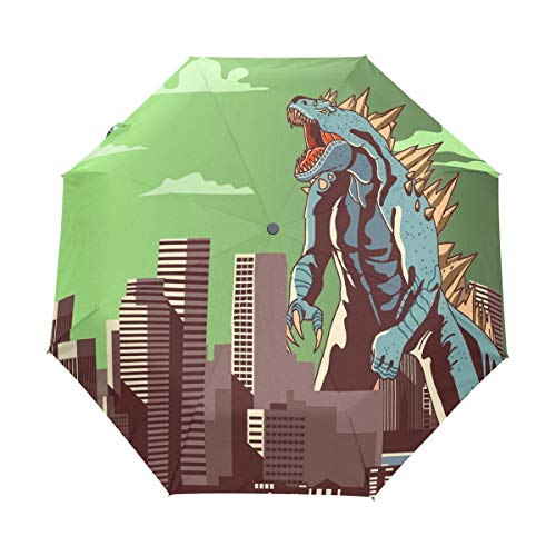 Jereee Godzilla Dinosaur Light Green Compact Travel Umbrella, Outdoor Rain Sun Car Folding Umbrellas for Windproof, Reinforced Canopy, UV Protection, Ergonomic Handle, Auto -