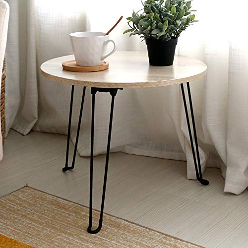 2LL4HM Small Round Coffee Table for Living Room Bed Room Outdoor Use Folding Side Table with Light Wood Color