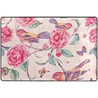 My Little Nest Area Rug Floral Watercolor Birds Pink Lightweight Doormat 2 x 3, Memory Sponge Indoor Outdoor Decor Carpet For Entrance Living Room Bedroom Office Kitchen Hallway