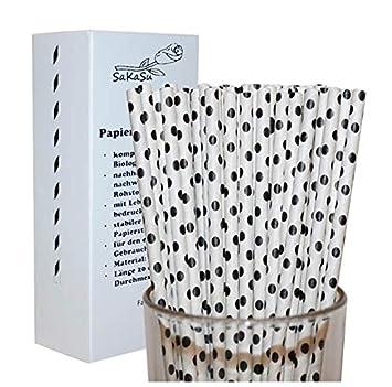 Trinkhalme Weiß mit schwarzen Punkten Strohhalme 10 Stück Party Tisch-Deko