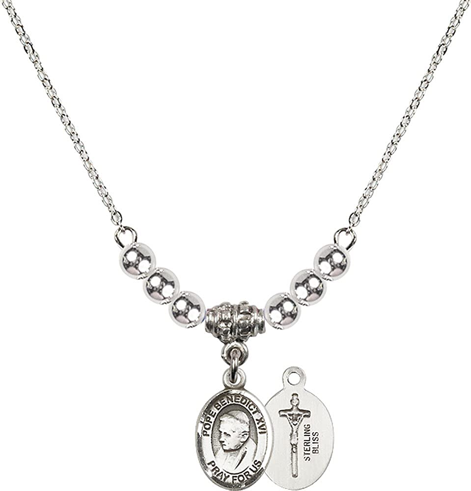 18-Inch Rhodium Plated Necklace with 4mm Sterling Silver Beads and Sterling Silver Pope Emeritace Benedict XVI Charm.