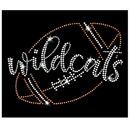 Wildcats Script Football Iron On Rhinestone Crystal and Rhinestud T-Shirt Transfer by JCS Rhinestones (Glass Wildcats)