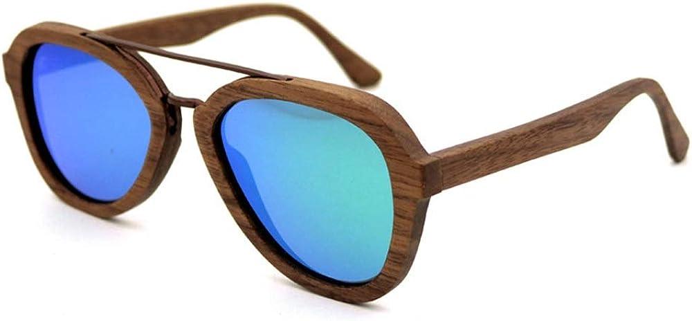 HONGHUIKE Occhiali da sole Uomo/Donna Occhiali da sole polarizzati in legno, Occhiali da sole pilota in legno Blu