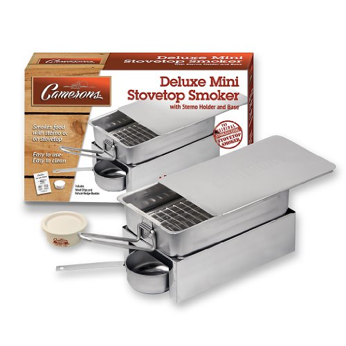 Camerons Products Stovetop Smoker - Deluxe Mini Stovetop Smoker with Sterno, Base and Wood Chips- Works over any heat source, indoor or outdoor