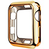 KARABEE Case for iWatch 42mm Series 3 Series 2 Series 1 Apple Watch Cover iWatch Case Metaliz Hood Flexible Clear Soft TPU Lightweight Protective Pretector Cover-Shiny Gold