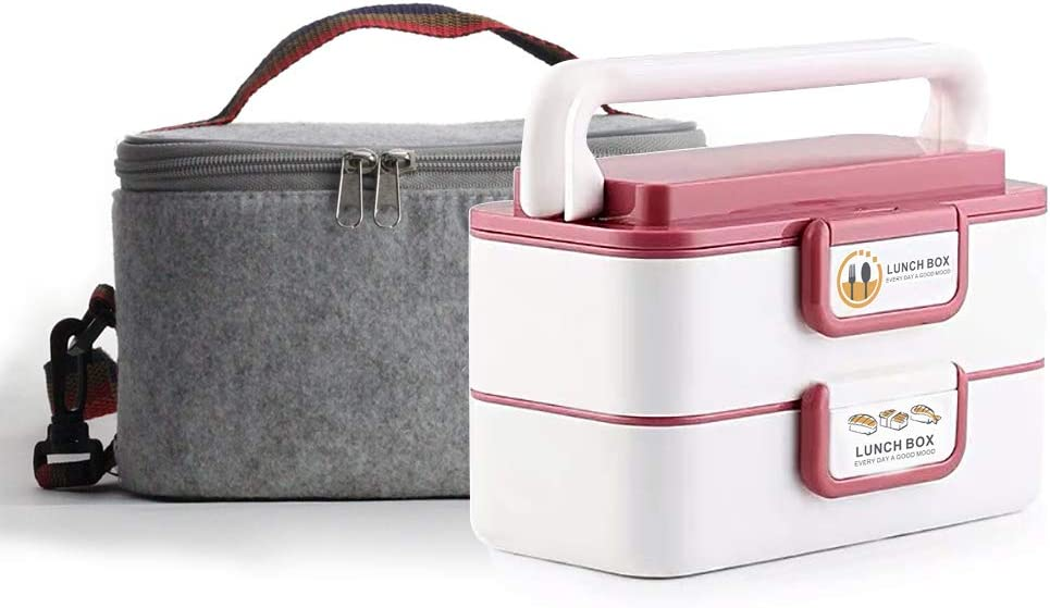 Lille Home Stackable Stainless Steel Thermal Compartment Lunch Box | 3-Tier Insulated Bento Box/Food Container with Insulated Lunch Bag & Foldable Stainless Steel Spoon (Retangle Red)