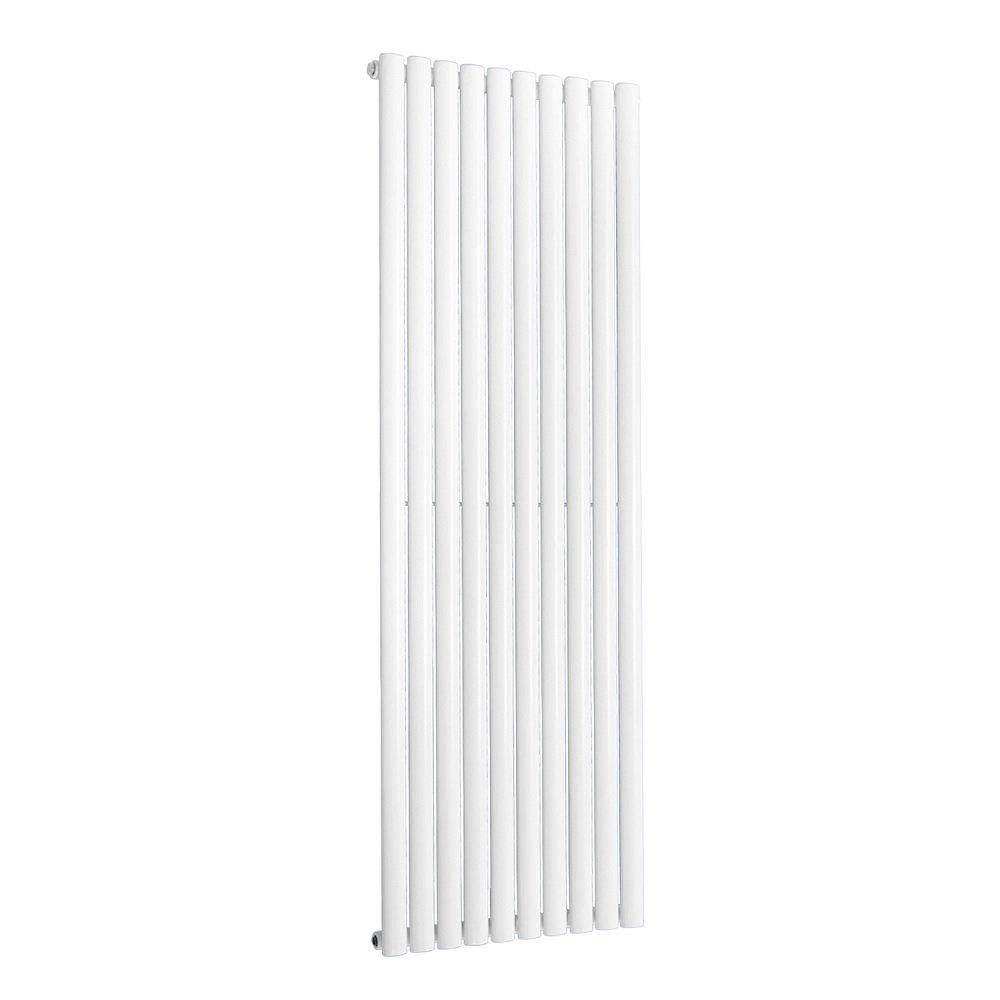 NRG Vertical Designer Radiator 1600x472mm Double Oval Panel Column Bathroom Central Heating White 15 Year Guarantee