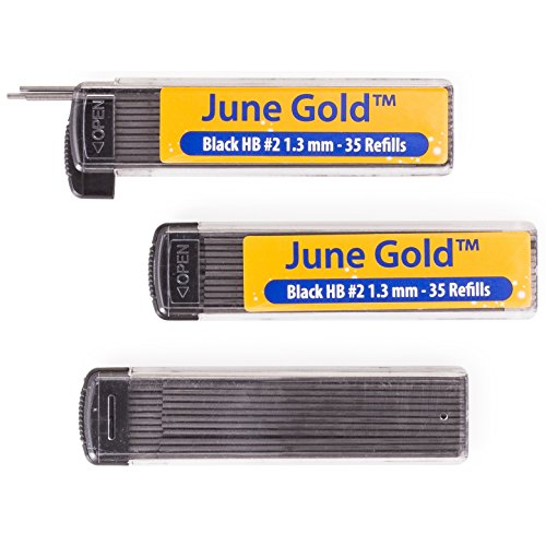 June Gold 102 Lead Refills, 1.3 mm HB #2, Medium Bold Thickness, Break Resistant Lead (Graphite) with Convenient Dispensers