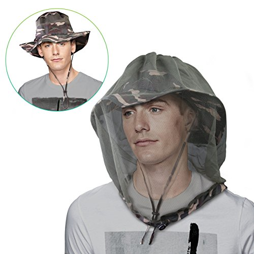 DIMPLES EXCEL Upgraded Version of Sun Hat with Mosquito Net Head- UPF 50 Protection, Summer Hat Wide Brim For Fishing, Walking, Hiking,Camping, One Size (Camo-mosquito netting)