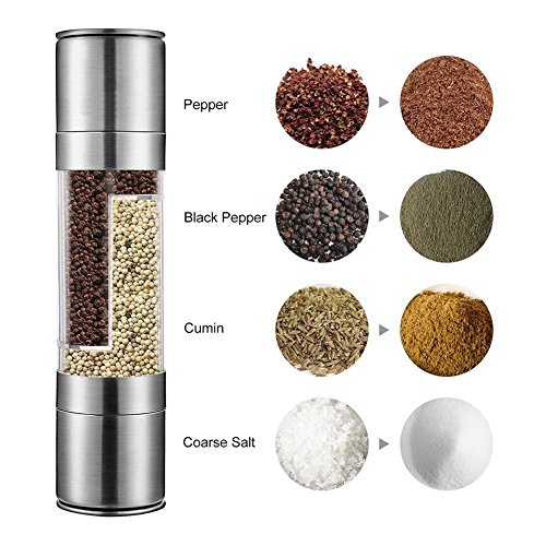 Suliko Stainless Steel Salt and Pepper Grinder, 2 in 1 Manual Pepper Mill and Salt Mill with Adjustable Ceramic Grinder Core, Dual Stainless Steel Pepper and Salt Shakers