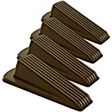 Home Premium Door Stopper, Heavy Duty Rubber Door Stop Wedge, Multi Surface Design (4 Pack, Brown)