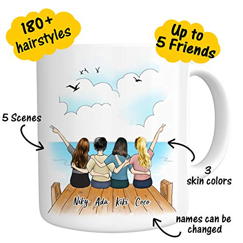 Custom Best Friend Coffee Mug for Women - Funny Personalized Photo Coffee Mugs - Long Distance Friendship - Customizable Name Words Cup for Besties Bff Friends Birthday Moving Away, Christmas Gifts