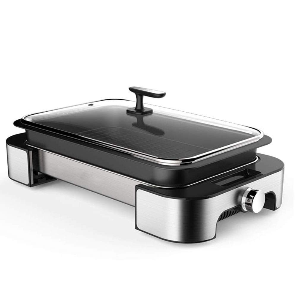 Yyqthg Multifunctional hot Pot, Electric Hot Pot Barbecue Pot Grilled Fish Large Capacity Smokeless Non-Stick Integrated Electric Frying Pan Integrated (Color : Silver) by Yyqthg
