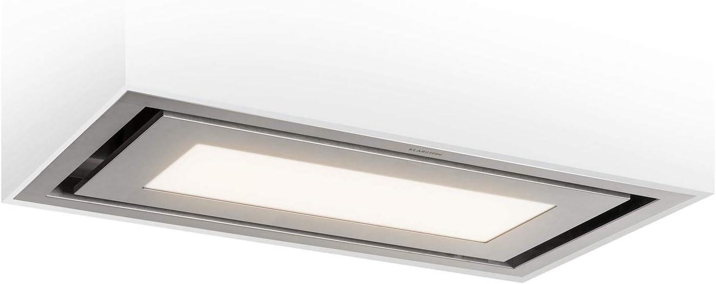 Klarstein Remy Brilliant Edition – isla extractora, 90 cm, A, 618 m³/h, 230 W, lámpara LED: 3 niveles de iluminación de hasta 6500 Kelvin, filtro para grasa, extracción y ventilación, plateado