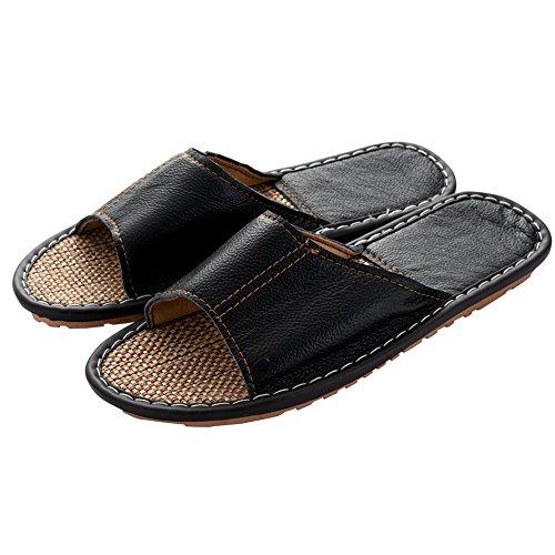 Mens Slipper Indoor Open Toe Slip On Slippers Non-Slip Leather Sandals by handrong