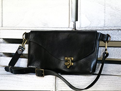 SALE - Elegant fanny pack // full-grain veg-tan leather & antiqued brass hardware // use as a hip bag, a clutch, or over the shoulder bag by Uphill Designs Co.