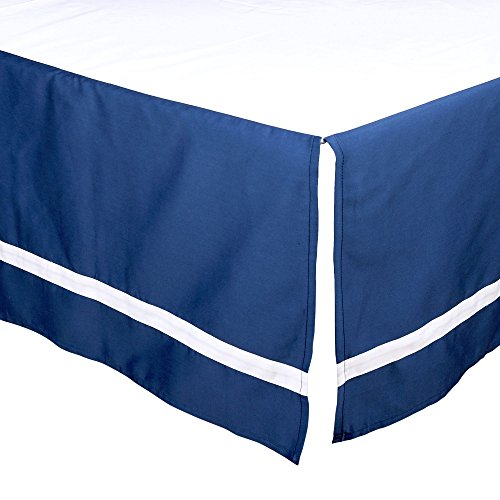 Navy Blue Tailored Crib Dust Ruffle with White Stripe by The Peanut Shell Stripes Crib Skirt