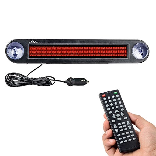 Display Scrolling Message Led Sign - Leadleds Dc 12v Remote Led Car Sign Programmable Scrolling Message Sign Board for Car, Shop, Store (Red)