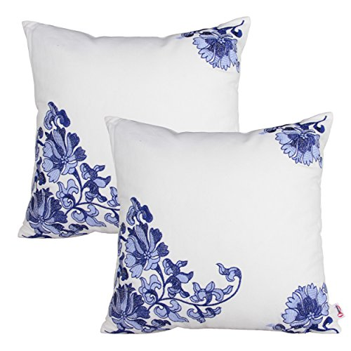 Queenie® - 2 Pcs Traditional Chinese Blue & White Porcelain Series 100% Cotton Embroidered Decorative Pillowcase Cushion Cover Throw Pillow Case 18 X 18 Inch 45 X 45 Cm (2, floral)