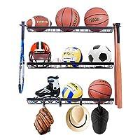 Mythinglogic Sports Equipment Storage Rack,Wall Mount Ball Rack Garage Organizer, 3 Separate Ball Storage Rack for Basketball, with Hooks