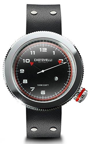 Chotovelli Men s Racing Watch -Gauge Alfa Dial, Sapphire Crystal, Genuine Leather 50mm