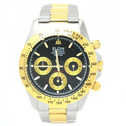 ELGIN watch chronograph watch Black x Gold FK1059TG-B Men