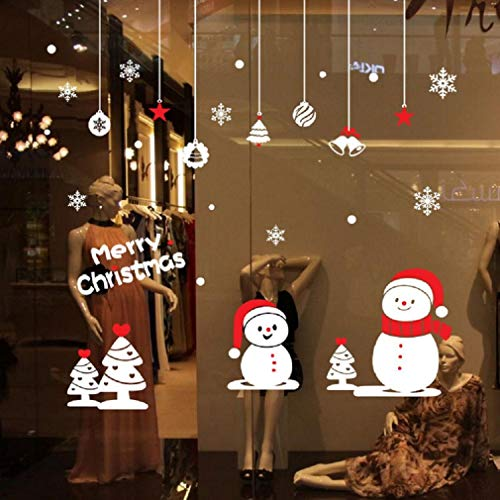 Beaubo 2019 Wall Mural Santa Claus - Merry Christmas Home Decor Decal for Glasses Windows Door Show Window Removable Wall Sticker Creative Window View Home Decor Wall Decor (Snowman)