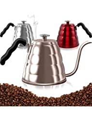 Pour Over Coffee Kettle with Thermometer-Flow Gooseneck Tea Kettles-Brew Barista-Standard Hand Drip Coffee Suitable all Stovetops and Induction, BPA Free, 40oz,Gold