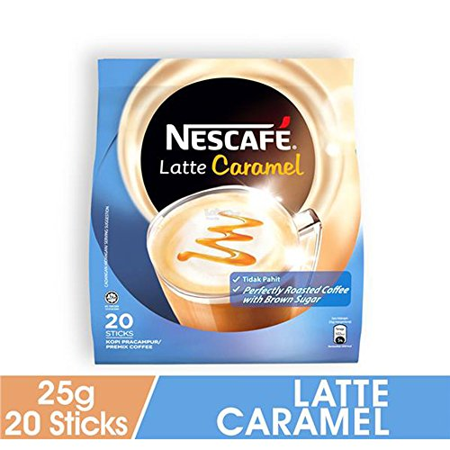 Packet Mix 1 (Nescafe 3 in 1 CARAMEL Coffee Latte - Instant Coffee Packets - Single Serve Flavored Coffee Mix (20 Sticks))