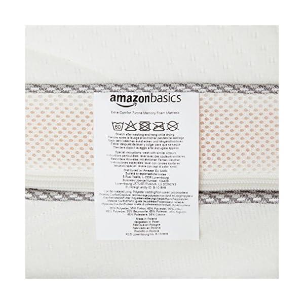 AmazonBasics - Materasso extra comfort a 7 zone in memory foam, Medio (H3) - 80 x 190 cm 5 spesavip