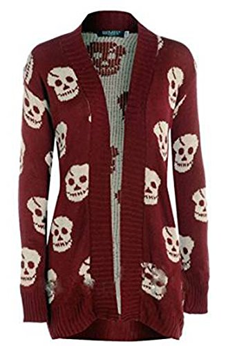 Thever Women Ladies Halloween Skull Skeleton Print Open Front Knitted Cardigan (X/L(14-16), Wine)]()